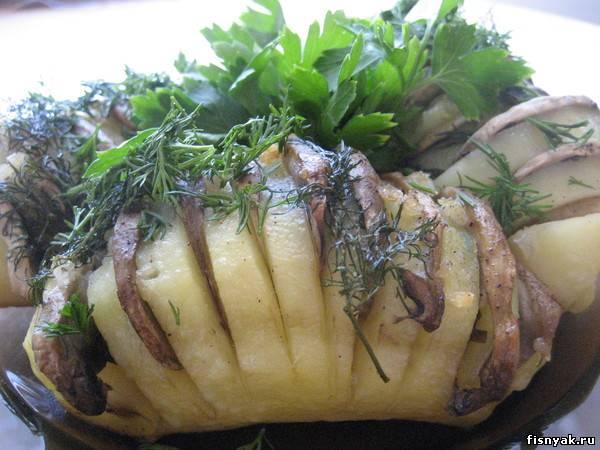 Оригинальный рецепт запеченной картошки. картофель 4-6 шт.; -грибы...