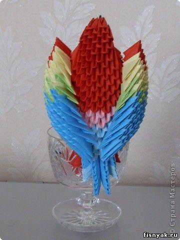 Мастер-класс, Оригами модульное, : МК на изготовление попугайчика Бумага .  Фото 78.